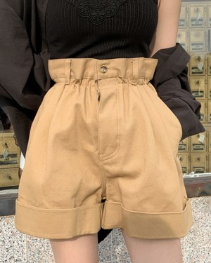 Seulgi Khaki High Waist Wide Leg Shorts 00003