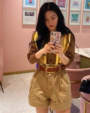 Khaki High Waist Wide Leg Shorts | Seulgi – Red Velvet