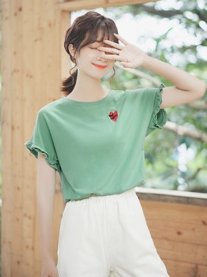 Shirred Short Sleeved T-Shirt With Heart Print (10)