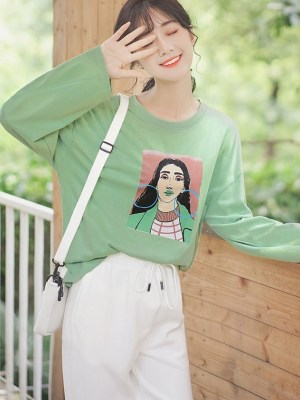 Street Style Long Sleeve Shirt With Graphic Print (3)