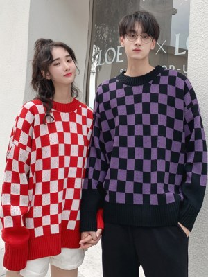 Suga Red Checkered Wool Sweater 00005