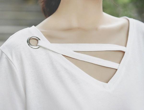 Trendy White V-neck T-Shirt