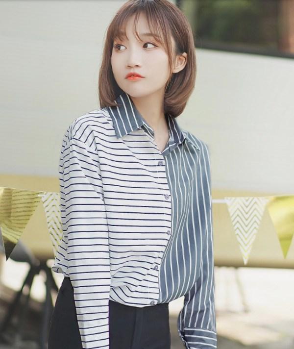 Uneven Stripes Long Sleeve Shirt