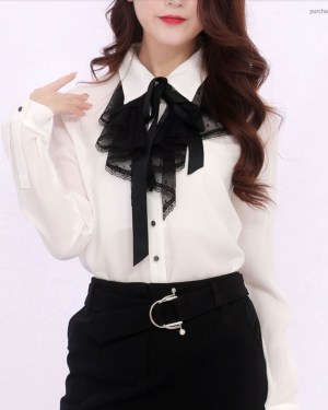 Wendy Black Laced Chiffon Long Sleeve Shirt 00008