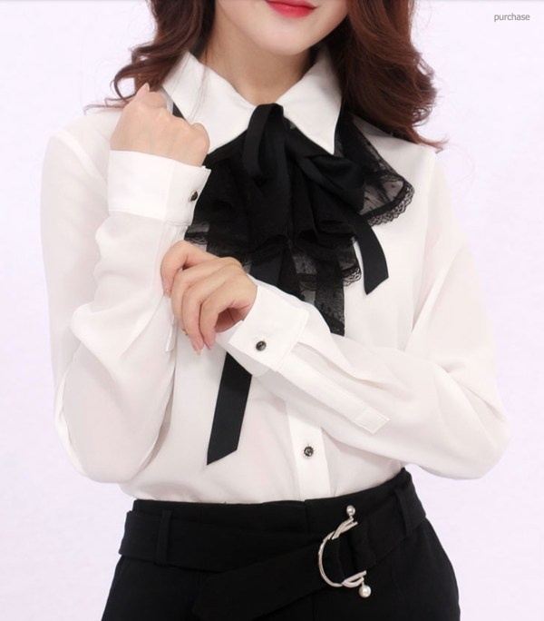 Black Laced Chiffon Long Sleeve Shirt | Wendy – Red Velvet