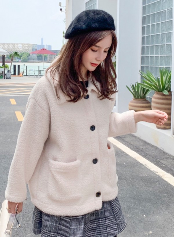 Winter Lamb Wool Cream Jacket | Wendy – Red Velvet