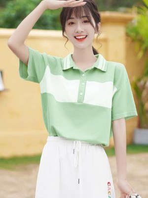 White and Green Polo With Stripes (2)