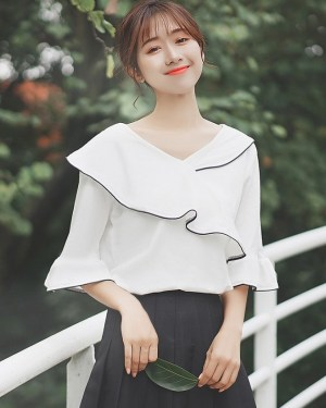 Wrapped Half-Sleeved Blouse (7)