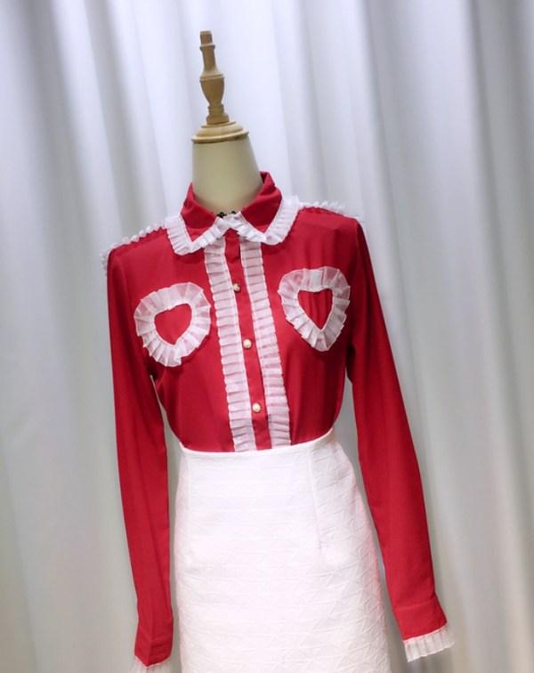 Ruffled Chest Hearts Shirt | Yeri – Red Velvet