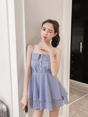 Chaeyoung Blue Striped Tie Waist Double Layer Dress 00013