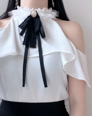 Chaeyoung Off Shoulder Ruffled Sleeves With Black Thin Ribbon 00004