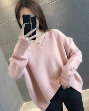 Hoshi Pink Ribbed Collar And Hem Sweater 00008