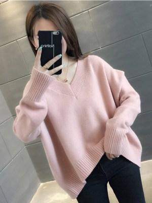 Hoshi Pink Ribbed Collar And Hem Sweater 00008