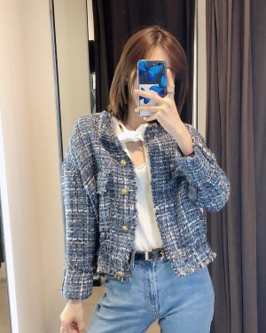 Hyewon Blue Tint with Gold Buttons Tweed Jacket 00002