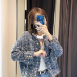Blue Tint With Gold Buttons Tweed Jacket | Hyewon – IZ*ONE