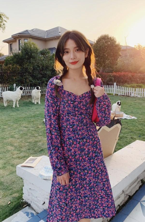 Square Collar Purple Floral Backless Dress | Hyuna