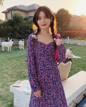 Hyuna Square Collar Purple Floral Backless Dress 00012