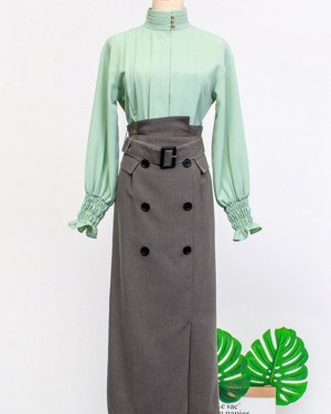 IU Belt Buckled Canvas Pencil Cut Skirt 00002