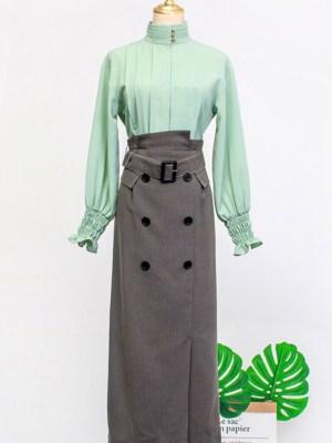 IU Belt Buckled Canvas Pencil Cut Skirt 00002