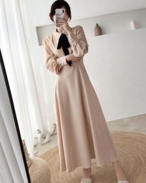 IU Black Bow In Beige Soft Long Dress 00003