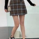 Buckled Olive Checkered Pleated Skirt | IU