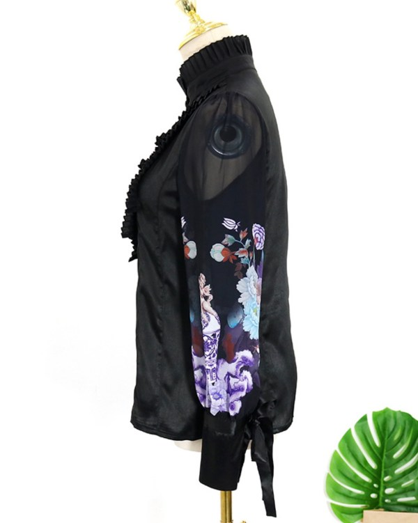Jet Black Pleated Bib And Angel Printed Sleeves Shirt   IU – Hotel Del Luna