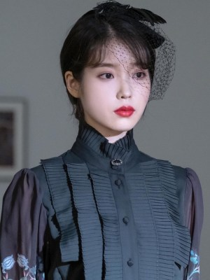 Jet Black Pleated Bib And Angel Printed Sleeves Shirt | IU – Hotel Del Luna