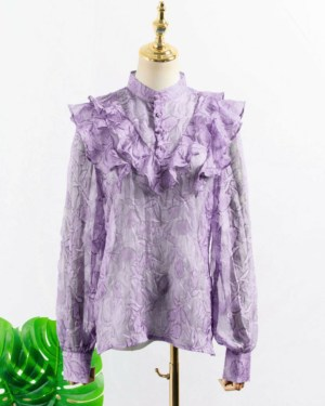 IU Nehru Purple Ruffled Blouse 00013