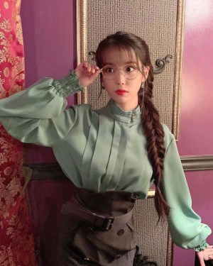Stand Away Tri Button Collar Soft Green Blouse | IU – Hotel Del Luna