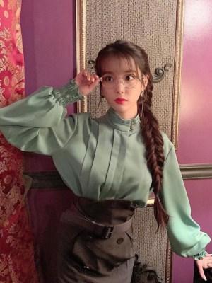 Stand Away Tri Button Collar Soft Green Blouse | IU – Hotel Del Luna