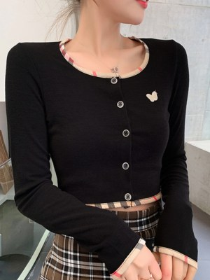 IU Yellow Butterfly Black Cropped Top 00009