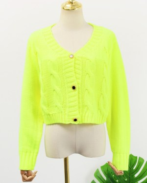 Jennie Neon Green Cropped Sweatshirt 00018