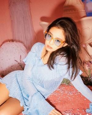 Ocean Blue Ruffled Cuff And Chest Dress | Jennie – Blackpink