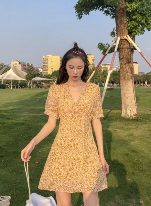 Yellow Sweet Floral Chiffon Dress | Jisoo- BlackPink