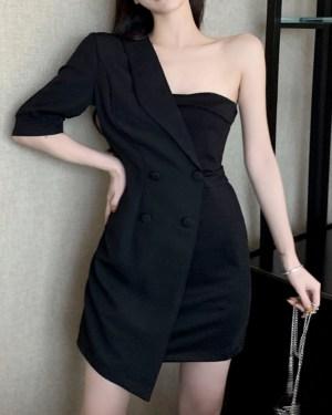 Joy Suit And Tube Black Dress 00005