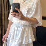 Cream Chiffon Brussels Lace Short Dress | Lisa – Blackpink