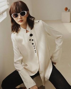 Mina Nehru Collar With Chest Button Details White Shirt 00004