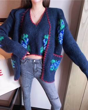 Momo Red Stitchings Blue Mohair Cardigan 00005