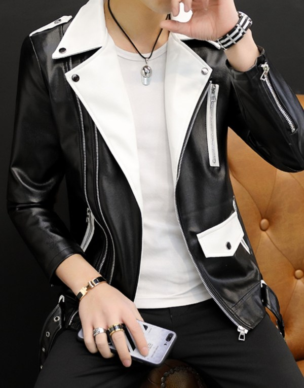 White Lapeled Black Leather Jacket | RM – BTS