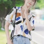Abstract Multicolored Paint Print Shirt