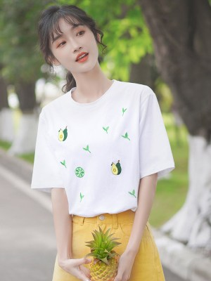 Avocado And Grass Print T-Shirt (5)
