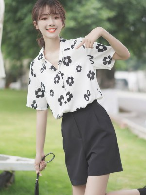 Black And White Daisy Print Shirt