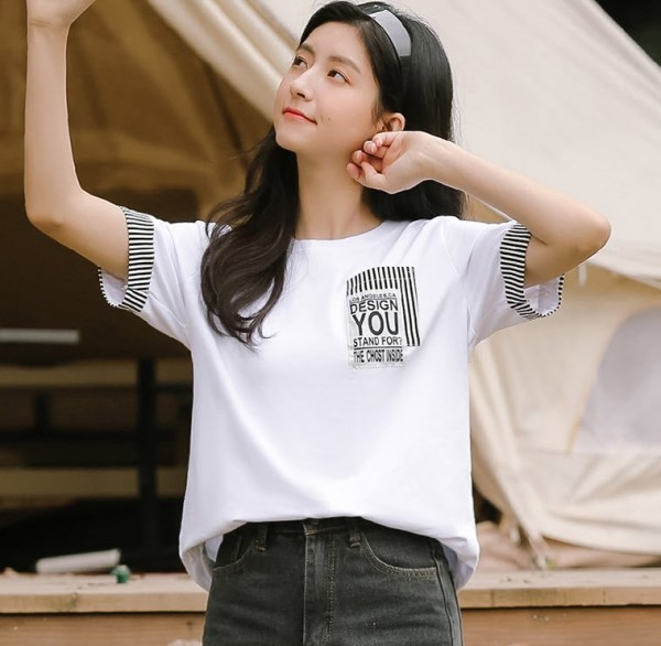 Black Bar Striped White T-Shirt