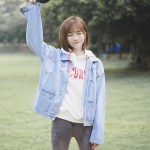 Blue Casual College Type Jacket