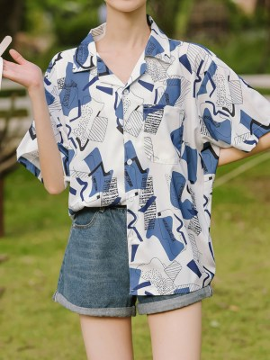Blue Irregular Shaped Patterned Shirt