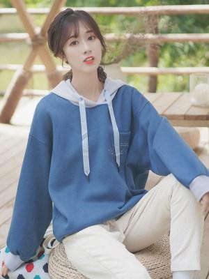 Blue One Breast Pocket Hoodie (5)