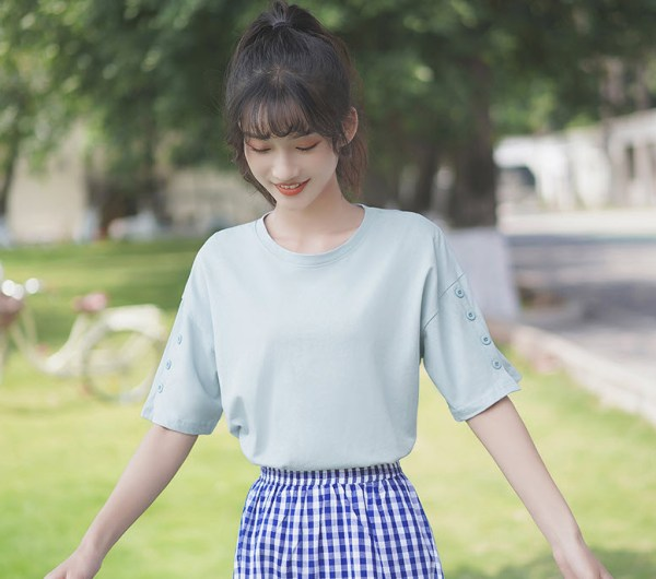 Blue T-Shirt With Buttons Accent On Sleeves