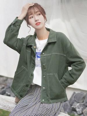 Dim Green Cute Buttons Jacket (4)