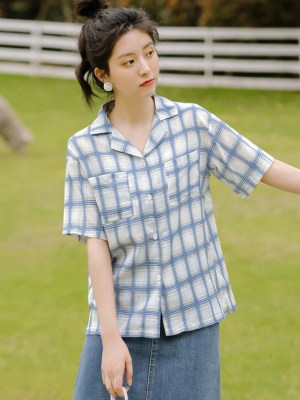 Double Pockets Blue Plaid Shirt (5)