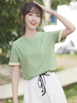 Green Round Neck Basic T-Shirt